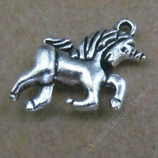 10x Charms 2-Sided Dragon Horse Pendant Beads Tibetan Silver Wholesale S556T