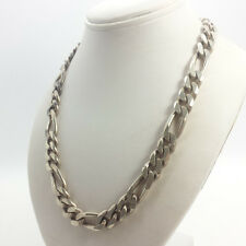 """Thick Italy Figaro Link Wide Men's Sterling Silver 925 Necklace 90g 18"""""""