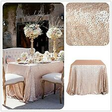 "Trlyc 48"" * 72"" gros sequins champagne brillant table nappe mariage glitz se..."