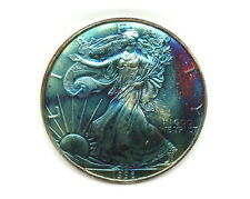 MONSTER RAINBOW TONED 1996 SAE SILVER AMERICAN EAGLE 1 OZ FINE SILVER COIN