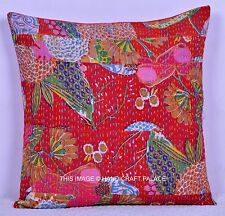 Cotton Cushion Cover Kantha Patchwork Pillow Case Vintage Multicolor Throw 16""