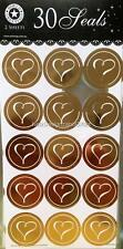 30 x GOLD Envelope Seals Stickers for Wedding Invitations or Announcements Heart