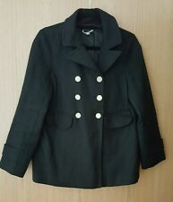 GAP black double breasted coat jacket with gold button detail XS