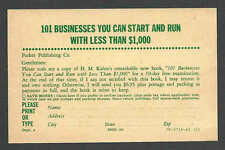 Ca 1953 PC NY PARKER PUB CO OFFERS BOOK HOW TO START A BUSINESS FOR UNDER $1,000