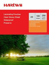 Hartwii 100 Sheet  A4 Clear Hot Laminating Pouches Film 250 Micron 216 x 303mm