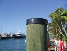 "Marine Dock 11"" Piling Cone Cap Pylon Edge Post Head BLACK Cover FLAT Pilling"