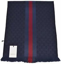 NEW Gucci Men's 147351 Blue GG Guccissima Red Blue Stripe Wool Scarf Muffler