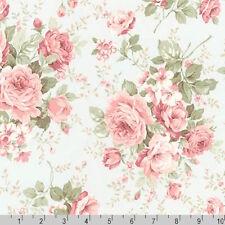Robert Kaufman Margeaux Large Rose Bouquets Mint Fabric