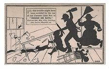 Rough on Rats Poison Trade Card Silhouette Family Chasing Rat