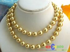 "p997 34"" 12MM GOLD ROUND SOUTH SEA SHELL PEARL NECKLACE"
