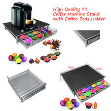 SILVER COFFEE MACHINE STAND CAPSULE HOLDER DRAWER NESPRESSO DOLCE GUSTO PODS