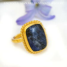 *FREE SIZE FOR RINGS* OMER STERLING SILVER BLUE SODALITE RING TURKISH JEWELRY
