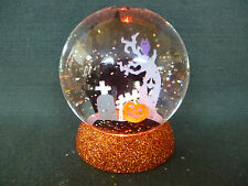 Hallmark Gift Bag Halloween Black Cat Graveyard Castle Ghost Tree Snow Globe NEW