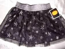HALLOWEEN black pull-on skirt silver elastic waistband glitter stars girls 3 3T