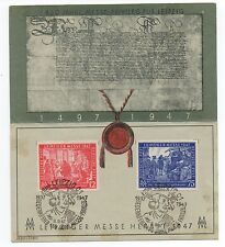 1947 German Souvenir Sheet with attached Stamps from Leipzig