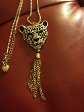 Betsey Johnson Large Leopard Necklace with Tassels