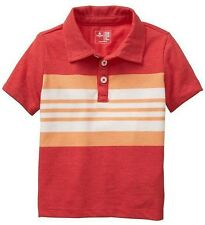 NEW Baby GAP Toddler Boys 2T Red Orange Striped Polo T-Shirt