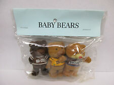 3 1987 Mars M&M's Snickers Flocked Fuzzy Bear Figures Sealed