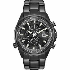 Citizen Eco-Drive World Chronograph A-T Atomic Black IP Mens Watch AT8025-51E SD
