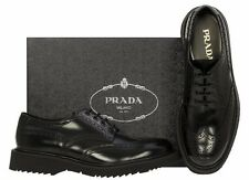 NEW PRADA LUXURY BLACK LEATHER WINGTIP OXFORD CASUAL LACE-UP SHOES 8/US 9