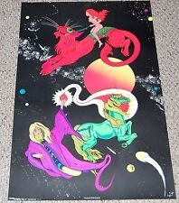 MOONDANCE 1973 Blacklight Poster SeeSee Fantasy Wizard & Girl Psychedelic