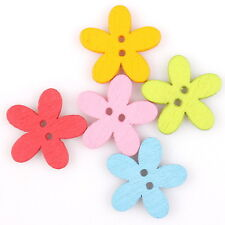 500x 161449 New Flowers Mixed Sew-on Wooden Buttons Hot Findings Fit DIY Making