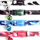 Ancol Cat Kitten Nylon Camouflage Collar Black Pink Blue Green Safety Clip Bell