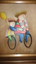 Signed oil painting kids on bike w/ balloon ( T Royisal ?) bright colors 221# 8#