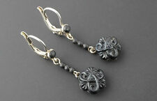 Victorian Antique French Mourning Dormeuse Carved Black Jet Silver Drop Earrings
