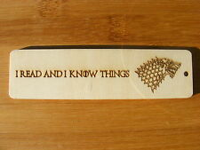 BOOKMARK GAME OF THRONES WOODEN DIRE WOLF STARK ENGRAVED WOOD XMAS GIFT IDEA UK