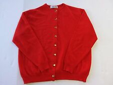 Vintage BURBERRY Sz 46 Women's Red, Button Down Cardigan Gold Buttons Lambs Wool