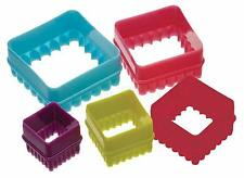 KITCHENCRAFT Set 5 Square Biscuit/Cookie Cutters in Tub. Kids Baking/Sandwiches.
