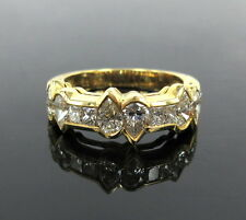 Rare Gerard 2.65ct Princess & Pear Shape Diamond 18K Yellow Gold Ring