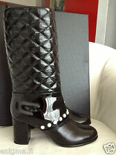 $2K CHANEL BLACK QUILTED PATENT LEATHER PULL-ON BOOTS WITH PEARLS 37.5