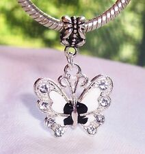 Black White Enamel Butterfly Rhinestone Dangle Bead for European Charm Bracelets