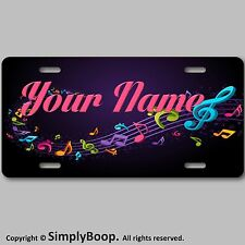 MUSIC NOTES CUSTOM MONOGRAM ALUMINUM LICENSE PLATE TAG  YOUR NAME OR TEXT COOL !