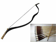 NEW 50LBS Black Snakeskin Mongolia Recurve Bow Hunting Archery +12 wood arrow