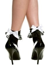 1-Pair Opaque Ankle High Socks Ruffle Top Lace Ribbon Bow Trim Lolita Pin-Up USA
