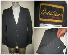"VINTAGE 1970S 70S PIN STRIPE GOLD SEAL ICI TERYLENE BLAZER SUIT JACKET 44"" CHEST"