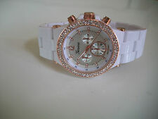Fashion Designer White/Rose Gold Finish 3D Boyfriend Geneva light weight Watch