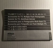 Nikon TTL Accessories For Flash Units SC-17,18,19,AS-10/11 - Instruction Manual