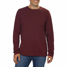 NEW Calvin Klein Mens Slub Knit Long Sleeve Crew Neck Pullover Shirt Rugby Red M