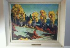 Signed Original L. Scott Brewster Canada acrylic painting 1960 Canadian Autumn
