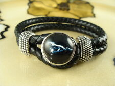 BLACK FORD MUSTANG LOVER SNAP BUTTON on Black leather bracelet 8 inch long
