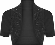 New Cotton Sequin Beaded Cap Short Sleeve Shrug Bolero Cardigan Top Size 8-26