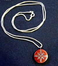 North Star Compass Rose Pendant Wood & Polished Inlay Charm Silver Necklace