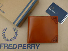 FRED PERRY Coin Wallet Brown BROQUE Detail Billfold Leather Wallets Boxed RRP£60