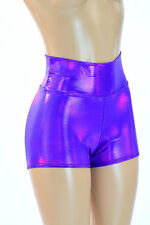 EXTRA SMALL High Waist Grape Purple Holographic Rave Shorts Ready To Ship!