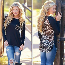 Plus Size Fashion Womens Top Long Sleeve Blouse Ladies Tops T-Shirt Leopard Tee