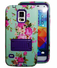 Blue Flower 2 layer Built in Screen Protector Case For Samsung Galaxy S5 Purple